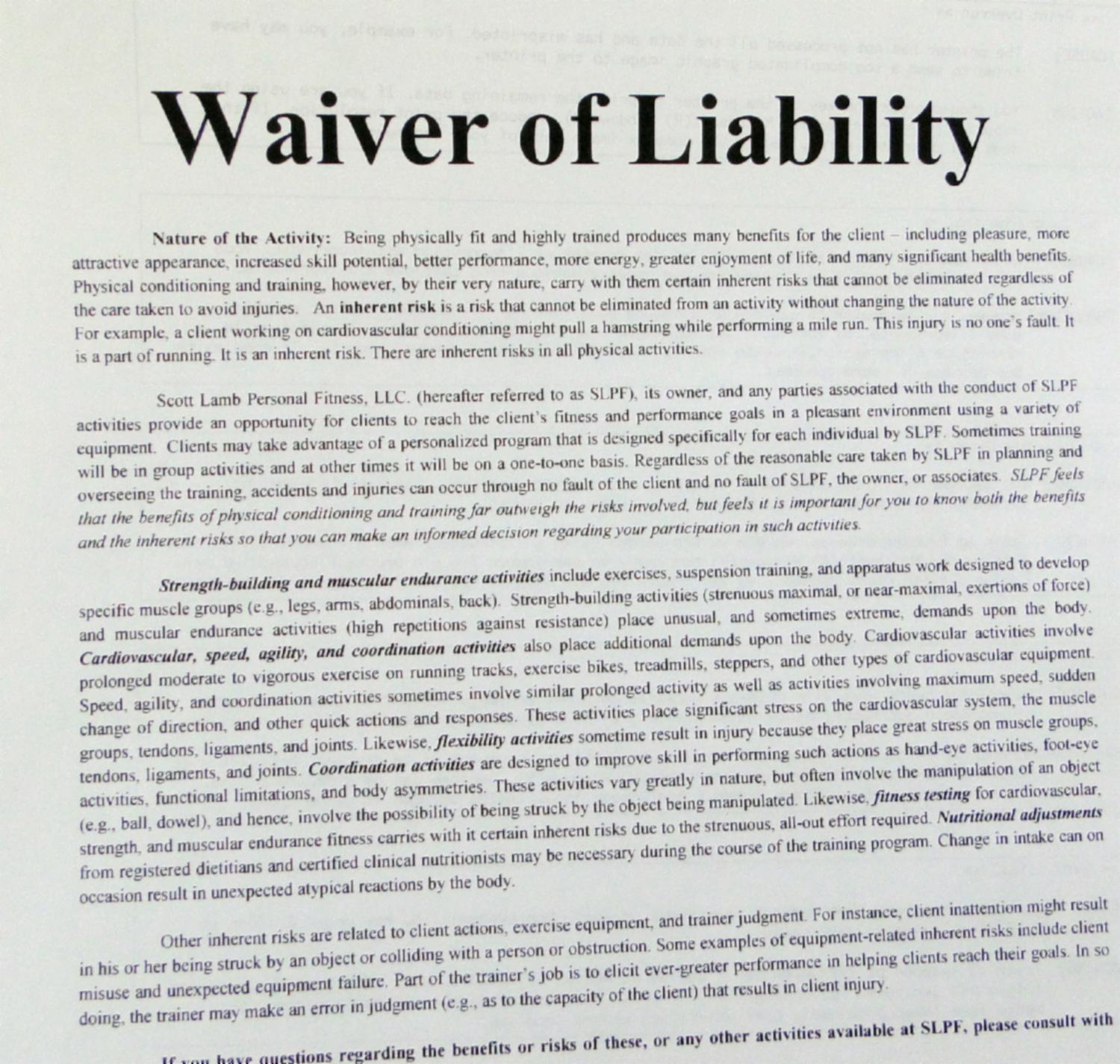 Waiver 001  Legal Liability Waiver Form